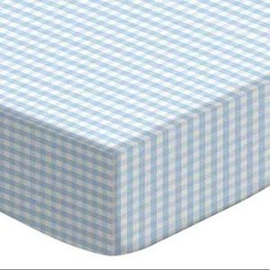 Light Blue Gingham Crib Sheets set of 2